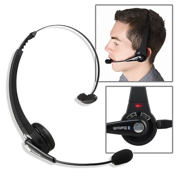 Luxmo Trucker Bluetooth Headset Wireless Headphones With Microphone Noise Cancelling Headphones For Truck Driver Wireless Over The Head Earpiece With Mic For Skype Call Centers Jesupwireless