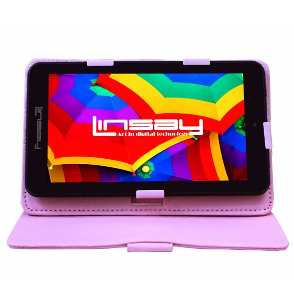 """LINSAY 7"""" Tablet 2 GB RAM 16 GB Android 9.0 Pie Bundle with Pink Leather Protective Case Dual Camera"""