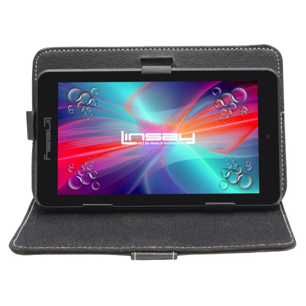 """LINSAY 7"""" Tablet 2 GB RAM 16 GB Android 9.0 with Black Leather Case"""